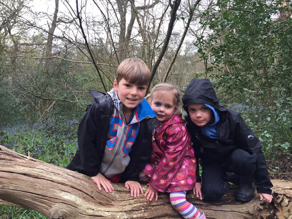Three children on a log in front of bluebells at Perivale Wood